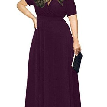 AM CLOTHES Womens Plus Size V-Neck Short Sleeve Evening Party Maxi Dress at Amazon Women's Clothing store: