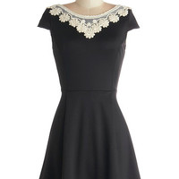 Cap Sleeves A-line Akin to Audrey Dress in Black