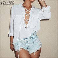 Fashion Blusas Femininas 2015 Women 's Turn Down Collar Front Lace Up Long Sleeve Blouse Sexy White Chiffon Tops Plus Size Shirt