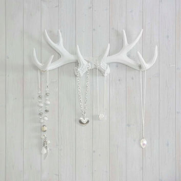The Faux Taxidermy Resin Deer Antler Hook Hanging Decor Wall Rack | Faux Deer Antler Jewelry, Leash, and Light Clothing Hanger