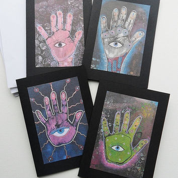 Hamsa Hand Cards - Greetings Cards - Set Of Cards - Hamsa Card Set - Hand Of Fatima - Art Hamsa Cards - Hand Of Hamsa - Evil Eye Hand