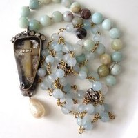 Boho Long Knotted Necklace Rosary Chain OOAK Vintage Cross