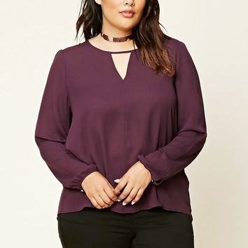 Plus Size Keyhole Cutout Top