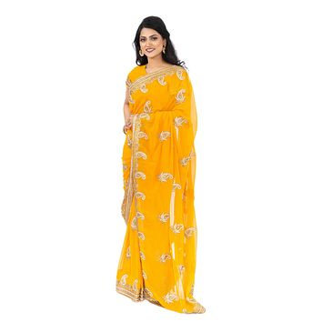 Magnificient Mango and Paisley Sangeet Ready-Made Pre-Pleated Sari