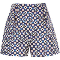 River Island Womens Blue floral print high waisted shorts