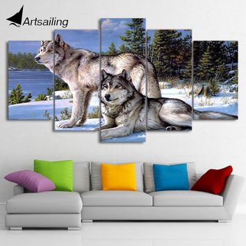 5 Pieces Canvas Art Painting Printed Wolfs in the snow winter Wall Art Print Canvas Painting Home Decor For Living Room CU-1385C