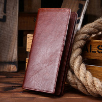 retro genuine leather long wallet handmade card hold purse 06