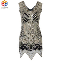 Glitter Woman V Neck 1920s Great Gatsby Dress Retro Art Deco Sequin Flapper Party Mini Black Dress Robe Femme Bodycon Dress
