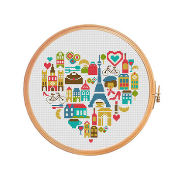 Paris heart sampler France cross stitch pattern - Eiffel tower Louvre arc de Triomphe curasan Notre Dame street cafe wine