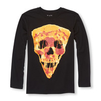 Boys Long Sleeve Pizza Face Graphic Tee | The Children's Place