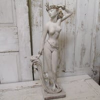 Nude woman sculpture hand painted distressed shabby chic statue art deco inspired jewelry tiara salvaged piece home decor anita spero
