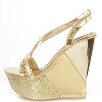 Gold Sequin Rhinestone Embellished Wedges Faux Leather