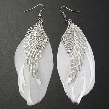 Accessory Feather Alloy Earrings [11141292820]