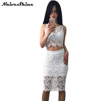 Women Dress 2 Piece Sexy White Lace Dresses Sleeveless Elegant Party Vintage Dress
