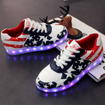 Stylish Bright Colorful Creative Casual Shoes Multi-color Lightning Lights [9257113740]