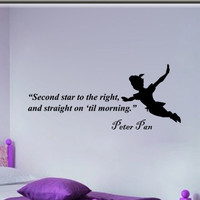 Peter Pan second star to the right  inspirational wall phrase word saying vinyl decal sticker 30i