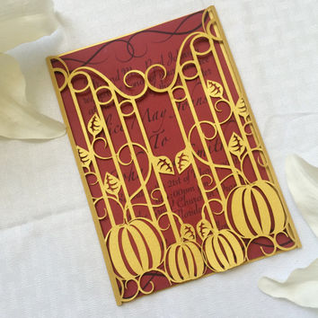 golden pumpkins and iron gate wedding invitation gatefold diy autumn fall halloween party