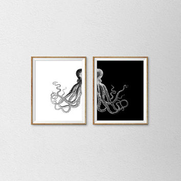 Set of 2 Prints Octopus, Art Print Beach Decor, Nautical Decor, Sea Ocean Black and White, Home Decor Wall Decor *39*