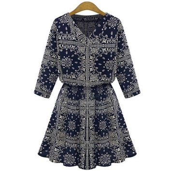 Women Sexy V-neck Vintage Floral Print Mini Dress Casual Style = 1667445188