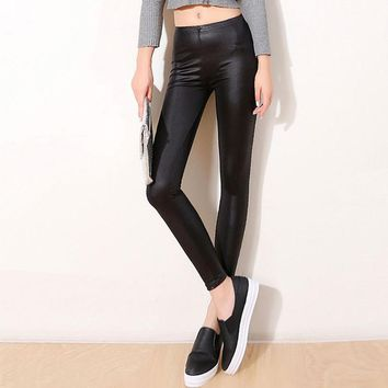 Women Pants Trousers Sexy Slim Shiny Fitness Faux Leather Legging 2017 NEW