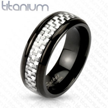 8mm White Silver Carbon Fiber Inlay Center Band Ring Black IP Titanium Men's Ring