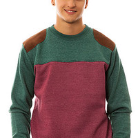 Bellfield Crewneck Lamba in Forest Green and Burgundy