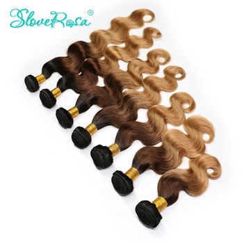 Slove Rosa Brazilian Colorful Hair Body Wave Ombre Brazilian Hair Weave 100% Human Remy Hair Extensions Weave T1B/4/27 Free Ship