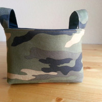 Small Fabric Storage Bin Basket ~ Green Camo