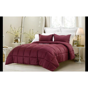 3PC Reversible Solid/ Emboss Striped Comforter Set- Oversized & Overfilled ( 2 Bedding Looks in 1) - Wine in Full Size