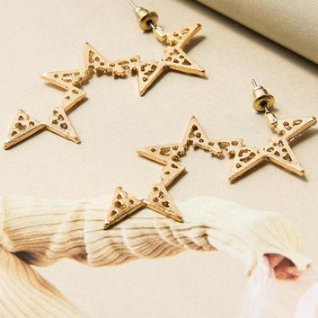 Star Geo Drop Earrings
