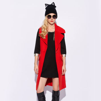 Sleeveless Lapel Button Long Vest Coat