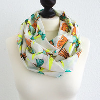 Tropical Neon Birds, Hummingbirds Scarf, Colorful Birds Infinity Scarf, Cotton Fabric, Circle Scarf, Gift Ideas, Fashion Accessory