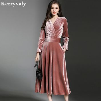 Peacock Blue Velvet Maxi Dress Winter Dresses Women Vestido Longo V-neck Big Pendulum Long Evening Party Dresses K323780