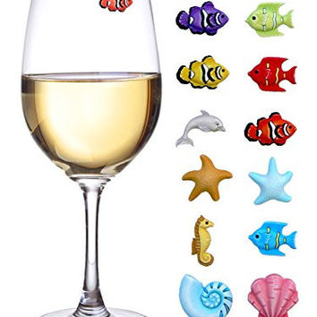 Summer Beach Wine Charms - Magnetic Glass Markers for Stemless Glasses, Martinis and More - Set of 12 Tropical Fish & Shell Charms - Summer Hostess Gift