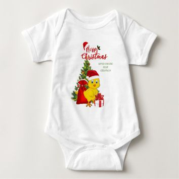Little Baby Chicken Christmas Baby Bodysuit