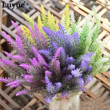 Romantic Provence artificial Lavender flower Pastoral silk wedding flowers table desk home party decorative flowers centerpiece