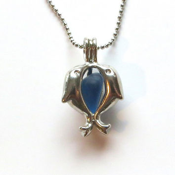 Blue Sea Glass Dolphin Locket by Wave of LIfe