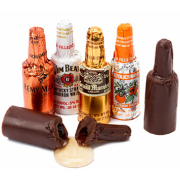 Foiled Chocolate Bottles with Liquor Filling: 24-Piece Display