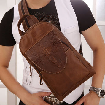 Genuine Leather Men Back pack Crocodile Pattern Retro Messenger Bags Male Single Shoulder Bag Multipurpose Sling Chest Rucksack