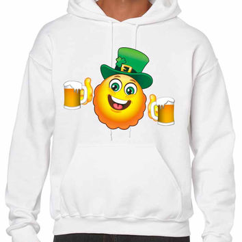 Irish smiling Emoji ST patricks men hooded sweatshirt