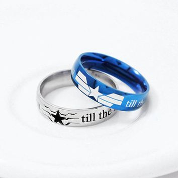Winter Soldier Captain America Stainless Steel, Promise Ring, Friendship Ring, Geek Engagement Ring, Couple Ring, Geek Jewelry,