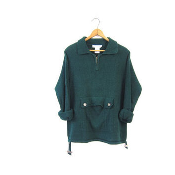 Forest Green Pullover Sweater 90s Zip Up Cotton Linen Sweater KANGAROO POUCH Long Sleeve Top Basic Knit Shirt Preppy Grunge Vintage Large
