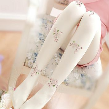 High Quality Velvet Tights Women Nylons Pantyhose Lady Sexy Printed Collant White Tights Female Lolita foot seamless stockings