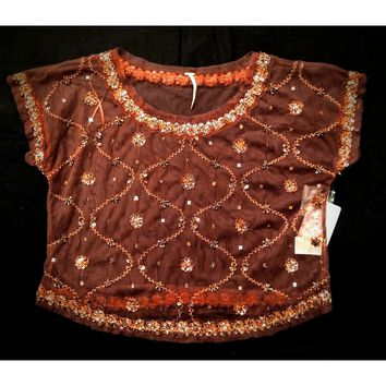 Free People -  copper mesh top with sequins -  size S #