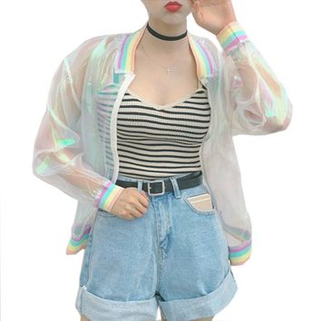 Sunproof Harajuku Summer Women Jacket Laser Rainbow Symphony Hologram Women BasicCoat Clear Iridescent Transparent Bomber Jacket