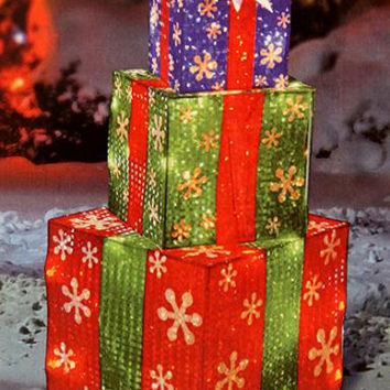 Stacked Present Christmas Yard Art - Stack Of Red Green And Blue Presents