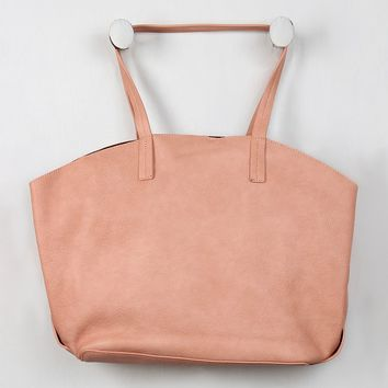 Pebbled Vegan Leather Wide Tote Bag