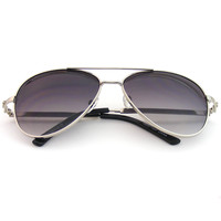 Rhinestone Studded Fashion Classic Premium Aviator Metal Sunglasses