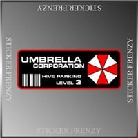 "Resident Evil Umbrella Corp. Parking Decal Vinyl Decal Bumper Sticker 2""x5"""
