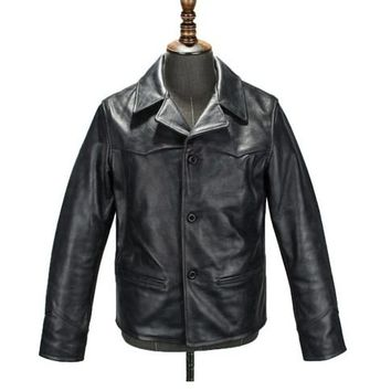 Free .DHL Brand classic cow leather,man's 100% genuine leather Jackets,fashion men's slim japan style jacket,quality.